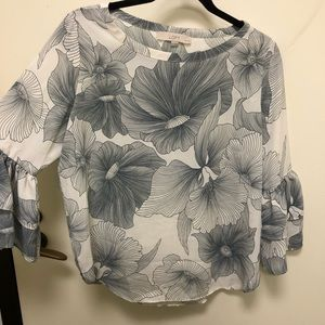 Loft Floral Blouse With Ruffled Sleeves
